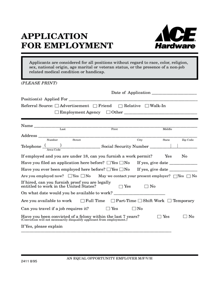 how to fill employment application form online