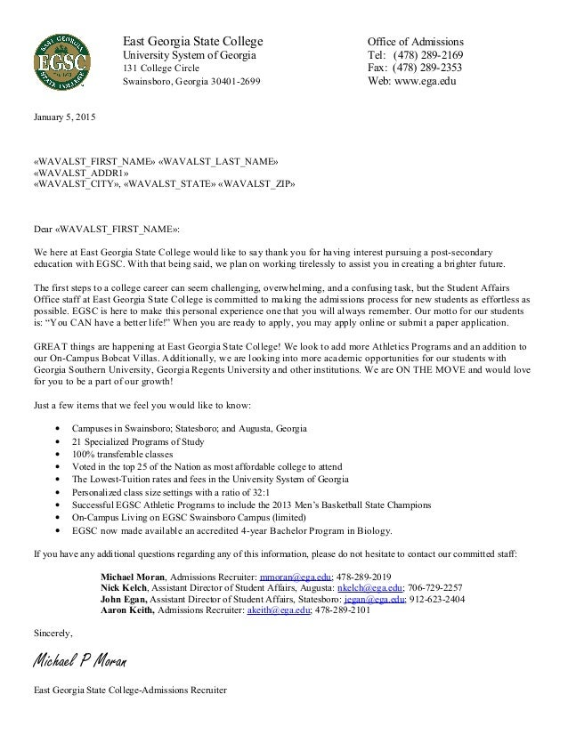 college application follow up letter