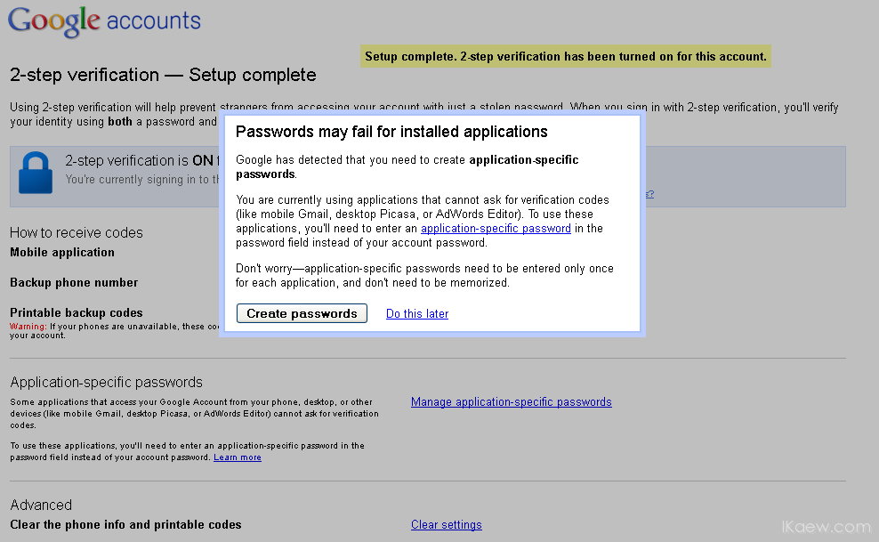 application specific password gmail android