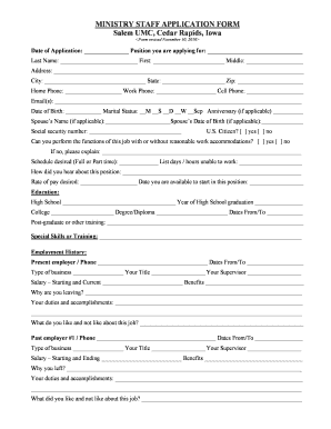 employment application form template word