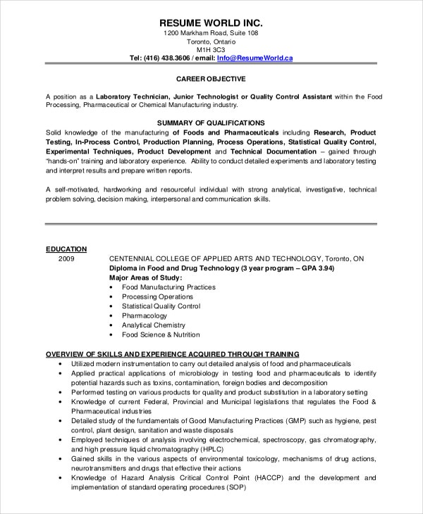 application for the post of lab assistant format