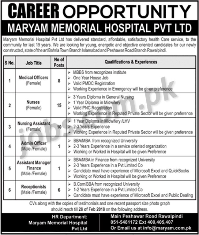 application for the post of receptionist in hospital
