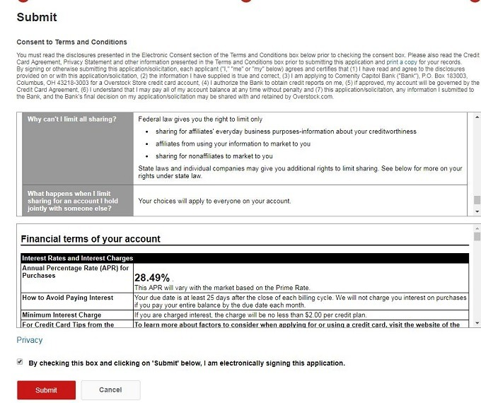 credit application terms and conditions