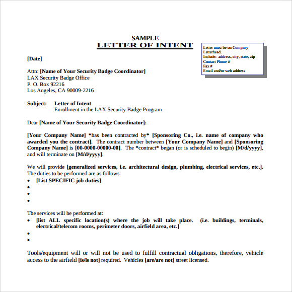 letter of intent example for job application